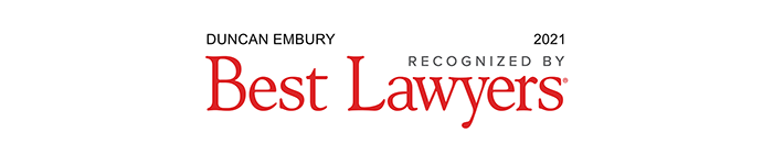 Duncan Embury recognized by Best Lawyers, 2021